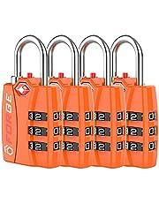 TSA Approved Luggage Locks, Zinc Alloy Body, Open Alert Red Indicator, 1, 2, 4 & 6 Pack, Black, Blue, Green, Silver