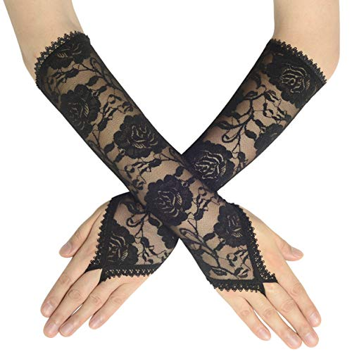 (BABEYOND Floral Lace Gloves for Wedding Opera Party 1920s Flapper Lace Gloves Stretchy Adult Size (Fingerless-Black))