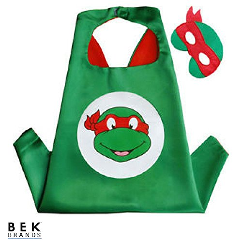 Bek Brands TMNT Ninja Turtles Raphael Superhero Cape and Mask Set | Dress up Satin Cape and Felt Mask, Costume for Kids Party ()