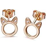 Meow Star Rose Gold Cat Stud Earrings Sterling Silver Circle Ear Studs CZ Cat Earrings