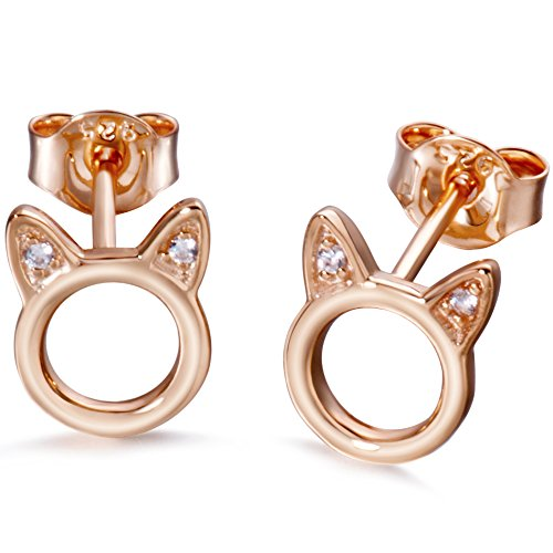 Meow Star Rose Gold Cat Stud Earrings Sterling Silver Circle Ear Studs CZ Cat Earrings - 18k Circle Earrings