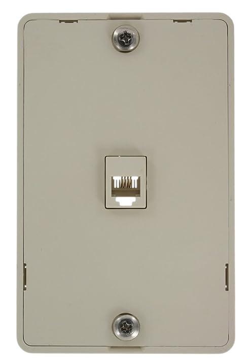 Amazon.com: Leviton 40214-T Telephone Wall Jack, 6P4C, Screw ...