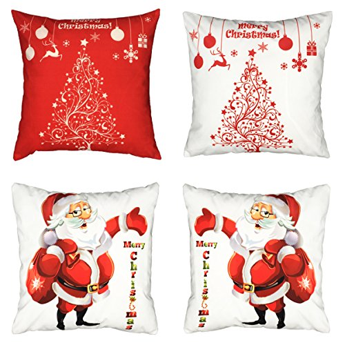 18x18 Merry Christmas Throw Pillow Covers, Decorative Christmas Accent Pillow Cushion Cases Slipcover with Reindeer Deer Christmas Tree Santa Claus, Set of 4 (Red and White) (Throw Pillow Merry Christmas)