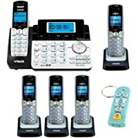 VTech DS6151 2-Line Expandable Cordless Phone with Digital Answering System and Caller ID + VTech DS6101 DECT 6.0 2-Line Accessory CID Handset Speakerphone (Set of 4) + Keychain TV Remote, Flashlight