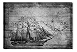Startonight Canvas Wall Art Black and White Abstract Old Map Ship Retro Design, Dual View Surprise Artwork Modern Framed Ready to Hang Wall Art 100% Original Art Painting 23.62 X 35.43 inch
