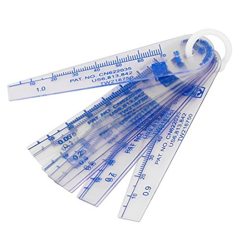 DealMux 0.05-1mm Thickness Plastic Feeler Gauge Gap Filler Measuring Tool 13 in 1 (Plastic Gauge Thickness)