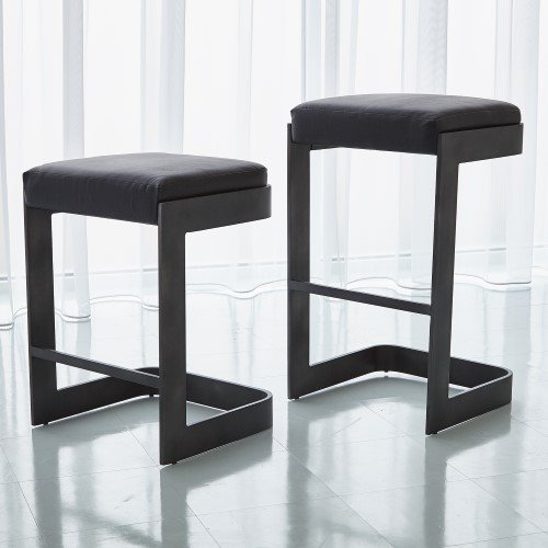 Modern Black Leather Cushioned Counter Stool 25'' | Graphite Gray Minimalist
