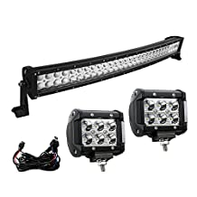 """YINTATECH 32"""" Led Light Bar, 180w Spot Flood Combo Beam + 2pcs 4"""" 18w OSRAM Spot Driving Lights for Off-road Jeep SUV Truck Car ATVs 4x4 4WD Boat with Wiring Harness"""