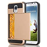 Galaxy S4 I9500 Case by CHENXI Removable Dual Layer Hybrid Armor Hard PC + TPU Sliding Cover Card Slot Shock Absorbing Cover Case for Samsung Galaxy S4 I9500 Gold