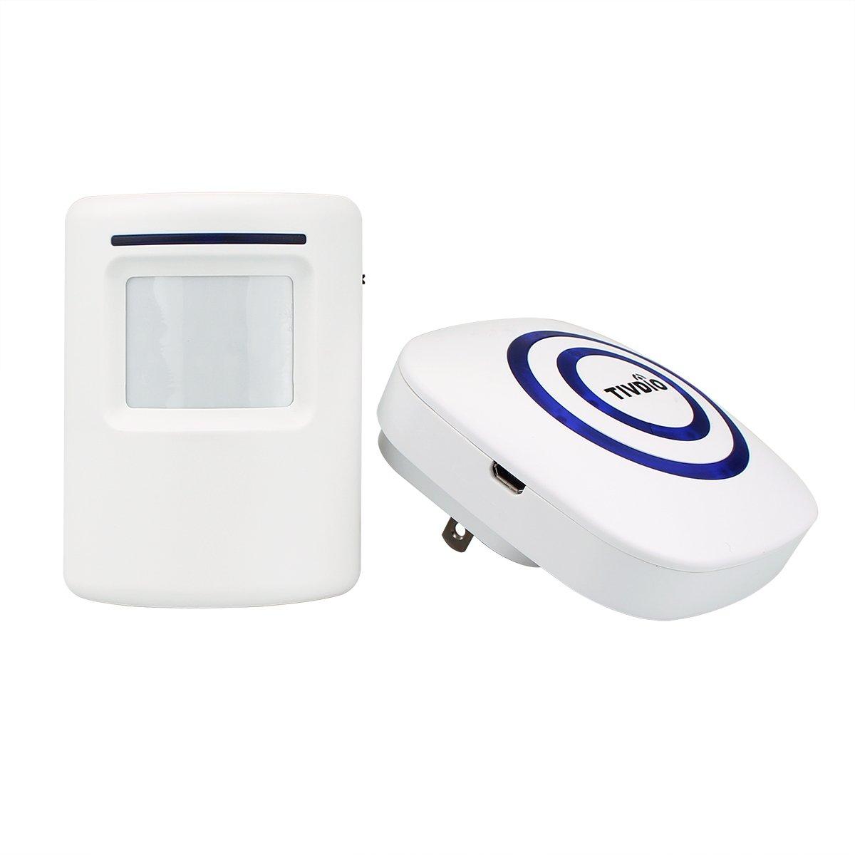 tivdioワイヤレスホームセキュリティアラームワイヤレスDrivewayアラートDoorbell with 1プラグイン受信機および1 PIRモーションセンサー検出器38 Melodies to Choose forショップホームストア B071GYGTX7