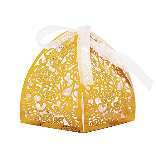 Gold Favor Boxes - KAZIPA 50pcs Laser Cut Candy Boxes,Gold Favor Boxes 2.6''x2.6''x2.8'', Wedding Favor Boxes for Bridal Shower Anniverary Birthday Party Wedding Favor, Gold