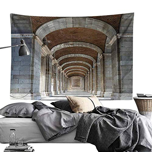 Homrkey Bedroom Tapestry Apartment Decor Collection Royal Palace Corridor Madrid Spain Historic Famous European Landmark Facade Picture Print Hippie Tapestry W70 x L59 Grey