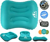 Ultralight Inflatable Camping Pillow - Compact, Lightweight, Comfortable, Ergonomic Self Inflating Pillow For Travel, Backpacking, Hiking, Airplane, Train, Car with Neck & Lumber Support