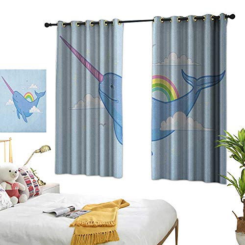 LsWOW Bedroom Curtains W72 x L45 Narwhal,Abstract Fantastical Whale with Horn Flying in The Sky Among Clouds and Rainbow, Multicolor Blackout Curtains Window Bedroom ()