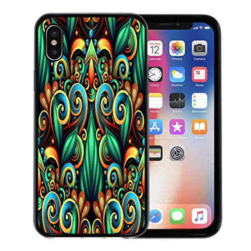 - Emvency Phone Case for Apple iPhone Xs Case/iPhone X Case,Colorful Batik Colored Floral Swirls Doodle Flowers and Leaves Soft Rubber Border Decorative, Black