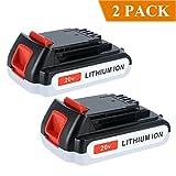 Biswaye 2 Pack 2.0Ah 20-Volt MAX Lithium Ion Battery for Black & Decker LBXR20 LB20 LBX20 LBXR2020-OPE LBXR20B-2 LB2X4020