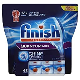 Finish Quantum Max Shine and Protect Dishwasher Detergent Tablets, Fresh Scent, 45 Count