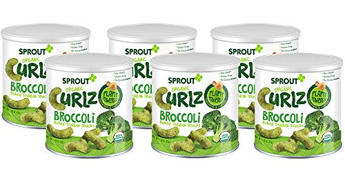 Sprout Organic Curlz Toddler Snacks, Broccoli, 1.48 Ounce Canister (Pack of 6)
