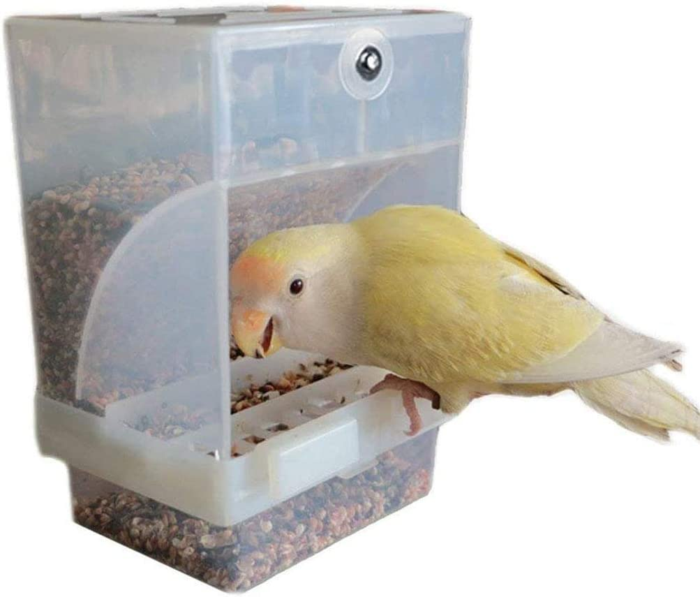 nbhbj No-Mess Automatic Bird Feeder - Parrot Feeder Cage Accessories for Budgerigar Canary Cockatiel Finch Parakeet Seed Food Container