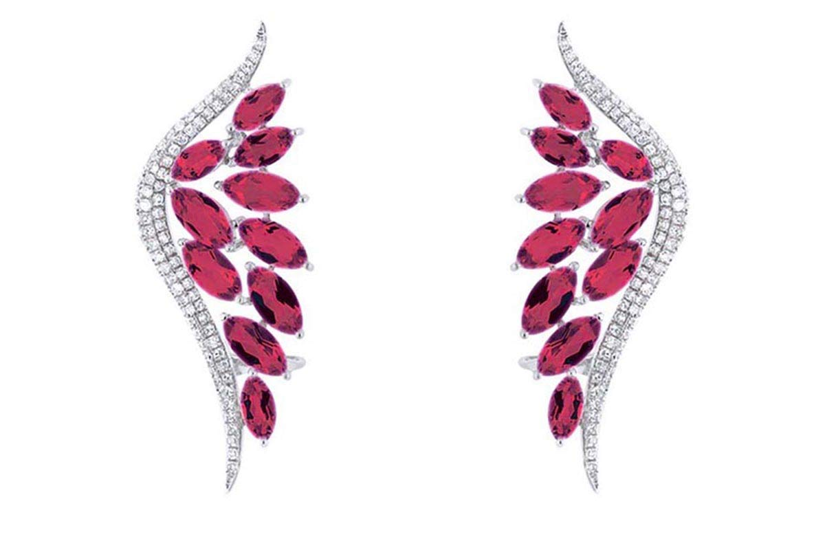6.40 Ct Marquise Cut Simulated Red Ruby Ear Crawler Earrings In 14K White Gold Over Sterling Silver by AFFY