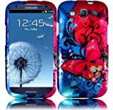 Generic Rubberized Design Cover for Samsung Galaxy S3 i9300 SGH i747, Butterfly Bliss