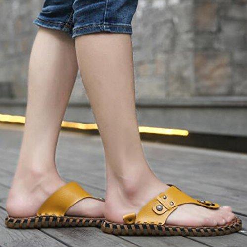 Sandali Uomo Casual In Uomo Yellow Casual Sandali Da ZHONGST Pelle Con Da 7TxOqTw