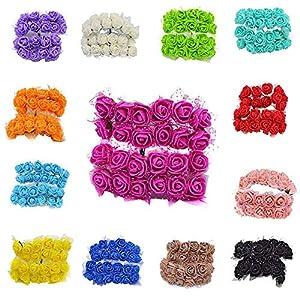 YONGSNOW Mini PE Foam Rose 288pcs 2cm Artificial Flower Bouquet Multicolor Rose Flower DIY Wreath Gift Box Wedding Party Decoration Scrapbooking 99