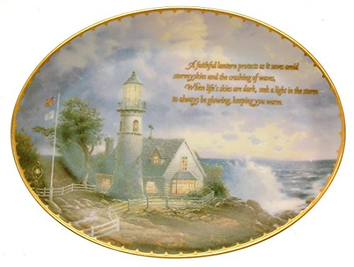 (Bradford Exchange Special Edition A light in the Storm Thomas Kinkade's Guiding Lights plate HJ158)