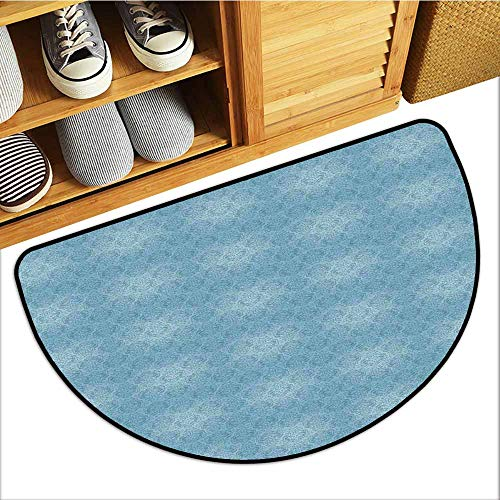 TableCovers&Home Absorbs Mud Doormat, Vintage Blue Decorative Rugs for Kitchen, Abstract Foliage Motifs in Damask Style Old Fashioned Victorian Garden Pattern (Slate Blue, H20 x D32 Semicircle)
