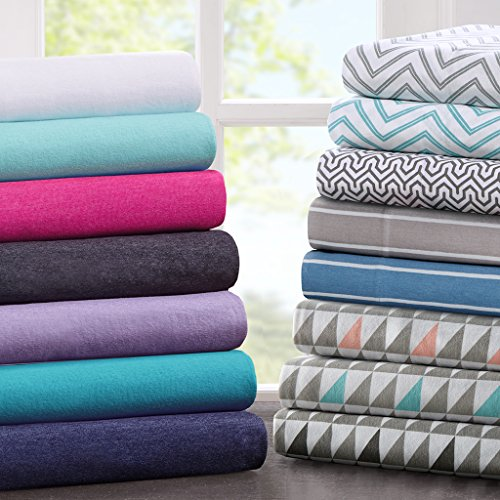 Intelligent Design Cotton Blend Jersey Knit Sheet Set Grey Chevron Twin - Gardens Jersey Store