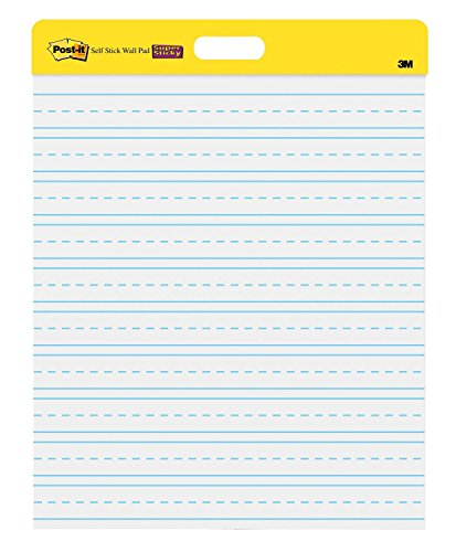 Post-it Super Sticky Wall Easel Pad, 20 x 23 Inches, 20 Sheets/Pad, 2 Pads (566PRL), Portable White Primary Ruled Premium Self Stick Flip Chart Paper, Rolls for Portability, Hangs with Command Strips ()