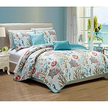 Amazon Com 5 Piece Blue Under Water Quilt King Set
