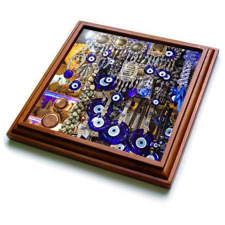 3dRose Danita Delimont - Decor - Iran, Shiraz, Bazar-E Vakil Market, Traditional Nazar Souvenirs - 8x8 Trivet with 6x6 ceramic tile (trv_312739_1)