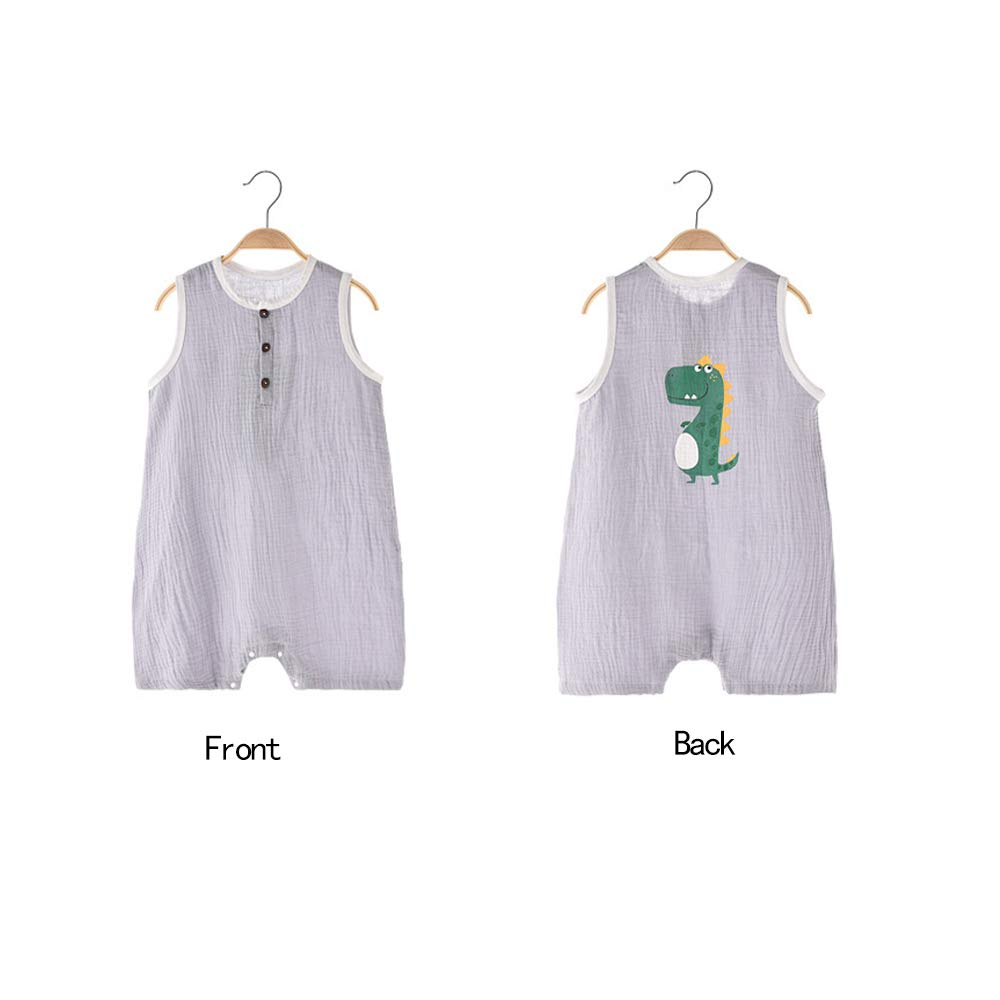 Cute Cartoon Baby Sleeveless Jumpsuit Infant Newborn Cotton Yarn One-Piece Bodysuit Romper Outfit Clothes Summer