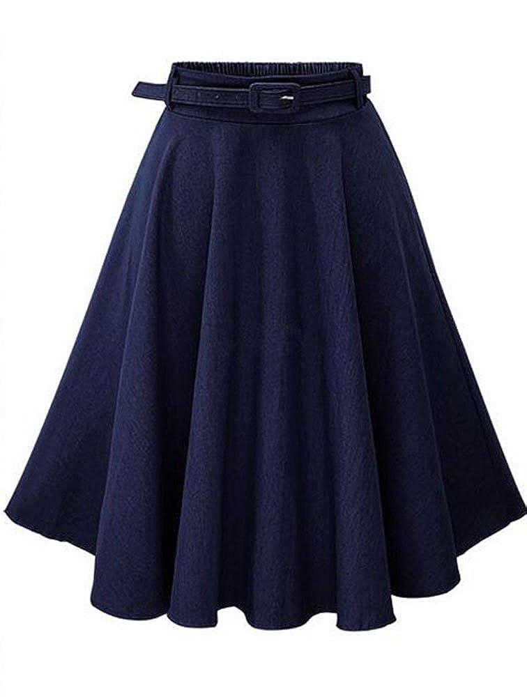 115ba6f30f Top1  Allonly Women s Denim A-Line Elastic Waist Pleated Midi Skirt Knee  Length with Belt