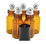 24 Pcs 5ml Portable Empty Brown Glass Bottle with a Stainless Steel Ball and ...