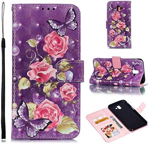 Zeebox® Galaxy J6 Plus 2018 手帳型 ケース, 人気 PU レザー 財布型 薄型 スマホケース Galaxy J6 Plus 2018 おしゃれ 人気スマホケース 衝撃吸収 全面保護 カバー, 紫の花