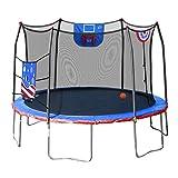 Skywalker Trampolines Stars & Stripes Jump N' Dunk 12' Trampoline with Safety Enclosure Basketball Hoop