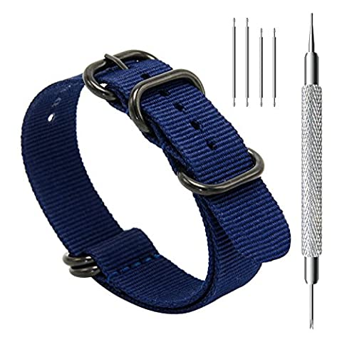 CIVO Heavy Duty G10 Zulu Military Watch Bands NATO Premium Ballistic Nylon Watch Strap 5 Black Rings with Stainless Steel Buckle 20mm 22mm 24mm (navy blue, (Watch Strap Ring)
