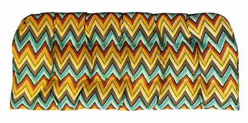 RSH Décor Indoor/Outdoor Wicker Chair Cushion Loveseat Orange Yellow Turquosie Teal Blue Abstract Chevron by RSH Décor (Image #1)