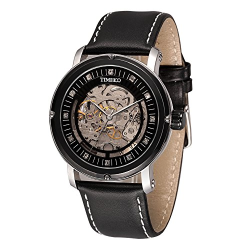 Time100 Herrenuhr Armbanduhr mechanischen skelettierten Uhrwerk Leder #W60040G.03A