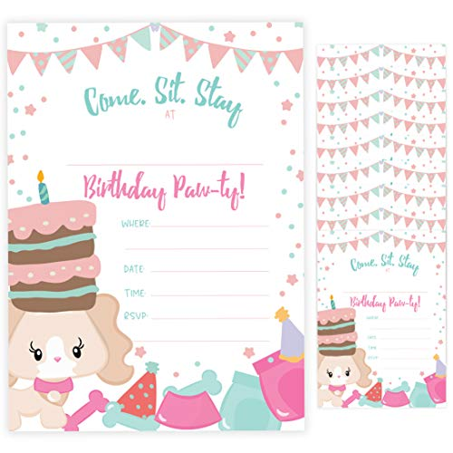 Puppy Style 2 Dog Doggy Happy Birthday Invitations Invite Cards (10 Count) With Envelopes Boys Girls Kids Party (10ct) (For Invitations Birthday Dogs)