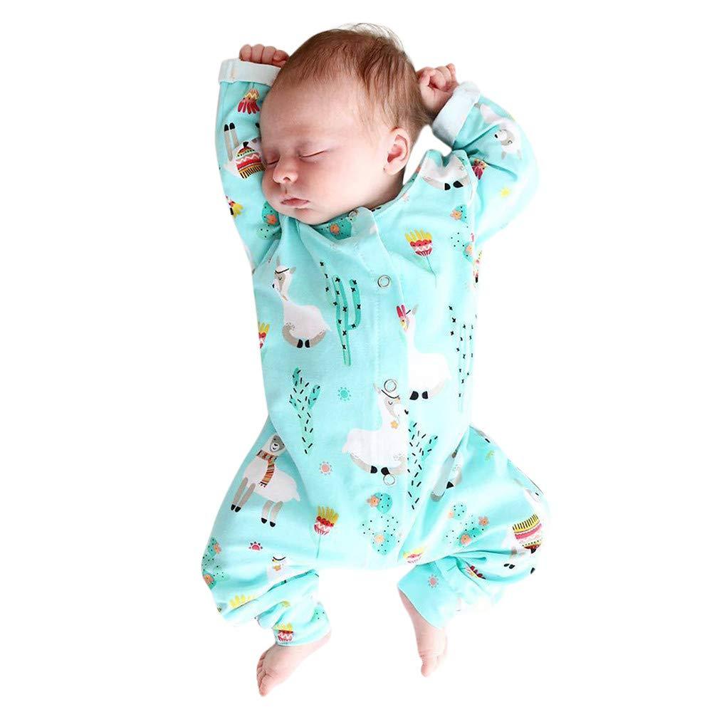 Dream/_mimi Baby Long Sleeve Cartoon Animal Alpaca Print Jumpsuit Crawling Suit