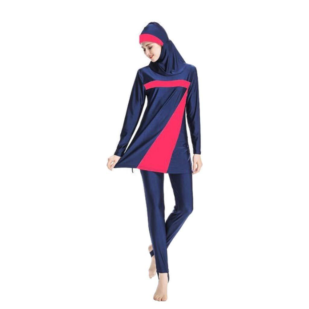 Women Muslim Bathing Suit with Cap Womens Long Sleeve Muslim Islamic Burkini Modest Swimwear Lady Swimsuit CapsA