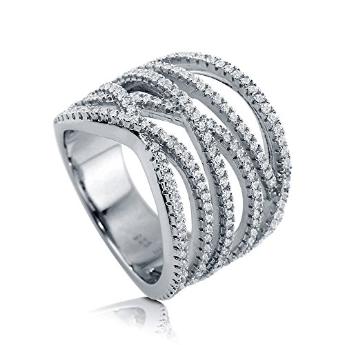 BERRICLE Rhodium Plated Sterling Silver Woven Cocktail Statement Ring Set W/Swarovski Zirconia