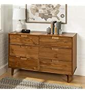 Walker Edison Mid Century Modern Grooved Handle Wood Dresser Bedroom Storage Drawer Organizer Clo...