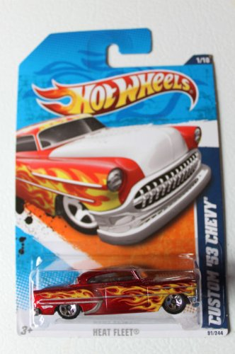 2011 Hot Wheels CUSTOM '53 CHEVY heat fleet 1 of 10, #91 red with flames