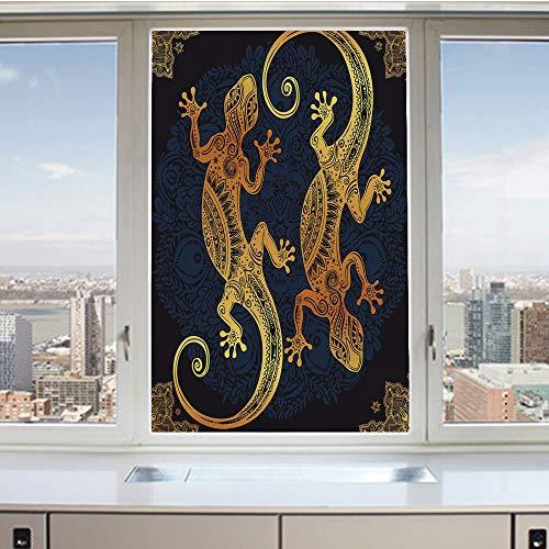 3D Decorative Privacy Window Films,Artistic Gecko Lizard Figures Boho Framework Tropical Henna Tattoo Style,No-Glue Self Static Cling Glass Film for Home Bedroom Bathroom Kitchen Office 24x36 Inch (Gecko Sunshade)