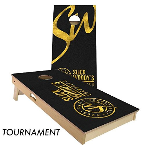 Slick Woody's Black and Gold Cornhole Board Set 4' by 2' Tournament size by Slick Woody's Cornhole Co.