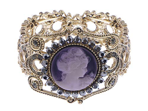 Alilang Womens Vintage Inspired Golden Tone Rhinestone Purple Victorian Cameo Lady Queen Princess Cuff Bangle Bracelet